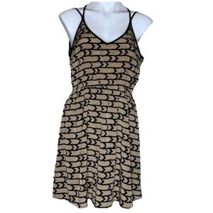 Tan and Black Thin Strap Dress with Racerback